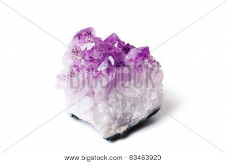 Amethyst Druse Close-up Isolated On White