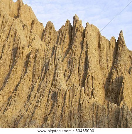 The close view of badland formations in southern Taiwan