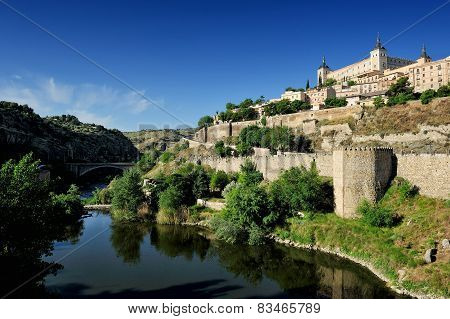 Tajo River And The Alcazar, Toledo, Spain