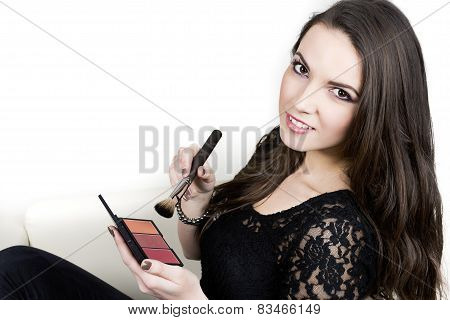 Girl With Makeup  Holding Brush And Blush Palette