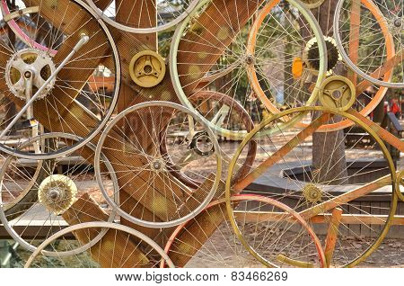 Bicycle Wheels Pattern Decorate To Background.