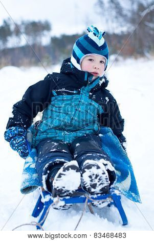 Happy Boy Sledding In Winter