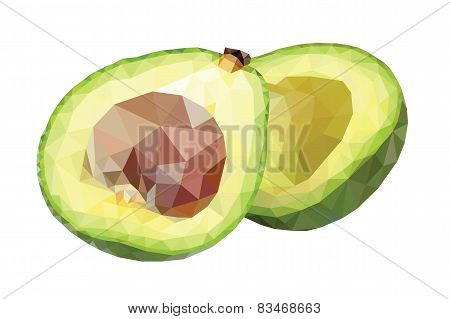Low poly avocado halves
