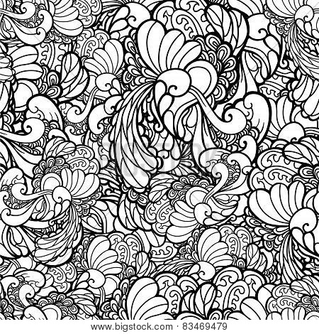 Vector black and white ornamental floral background. Pattern for your design wallpapers