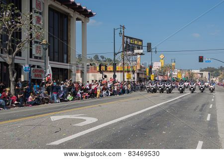 Police Officers On Motorcycles Performing At