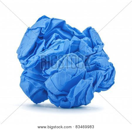 Dark Blue Ball Crumpled Paper On A White Background