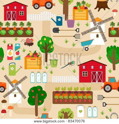 Farm seamless pattern with tractor and beds, apple trees, mill