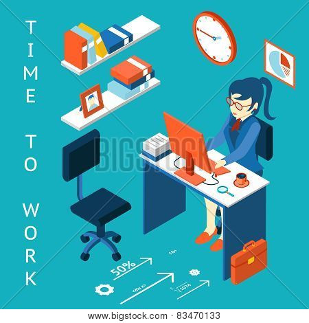 Time to work concept. Business corporate process infographic element