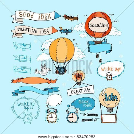 Idea hand-drawn elements. Bulbs, airplanes, balloons and alarm clocks