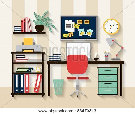 Workplace in cabinet room interior