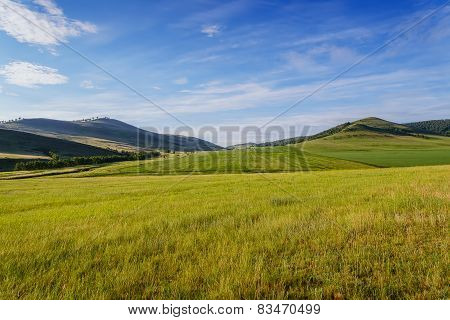 Fields And Low Mountains Of Khakassia.