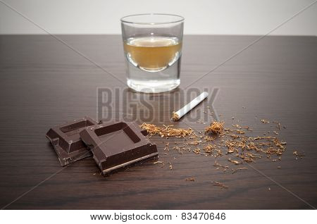 chocolate whiskey and cigarette