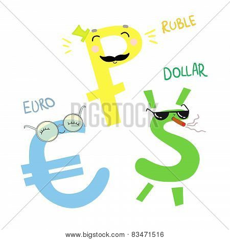 Hand Drawn Vector Illustration. Cartoon Money. Dollar, Euro And Ruble. Cute Character