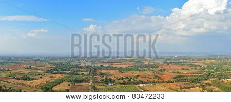 Panoramic Scenic Aerial View Of Farmland In Nakornrachasrima Or Korat, Thailand.