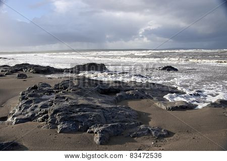 The Black Rocks On Ballybunion Beach