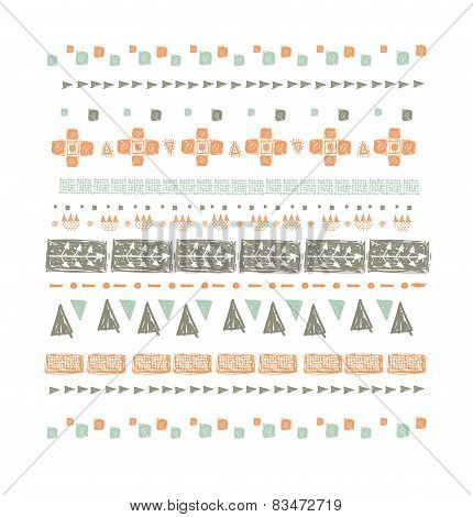 Abstract ethnic seamless pattern in style of primitive culture. Ethnic background.Grunge background.