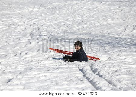 Child Falls From Skiing In Winter