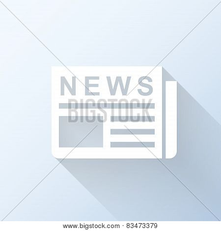 Flat Newspaper Icon With Long Shadow. Vector Illustration