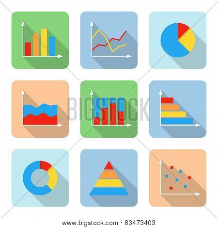 Flat Graph Icons With Long Shadows. Vector Illustration