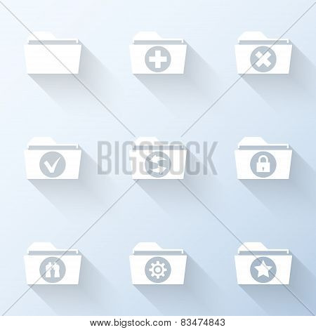 Flat Folder Icons With Long Shadows. Vector Illustration