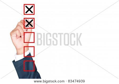 Hand Business Man Tick Check Box