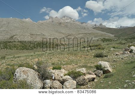 Taurus Mountains On The Background Of Sky. Vertices Covered With Snow. Tourism And Travel.