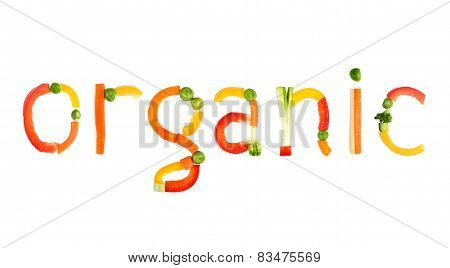 Inscription Vegetables On A White Background