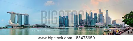 Singapore - 01 Jan 2014: Panoramic View Of The Marina Bay Sands Hotel And Business Center