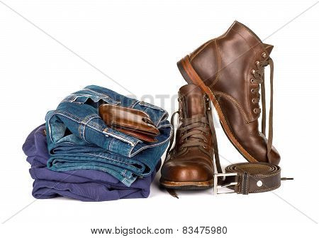 Set consisting of jeans strap shoes and purse on a white background