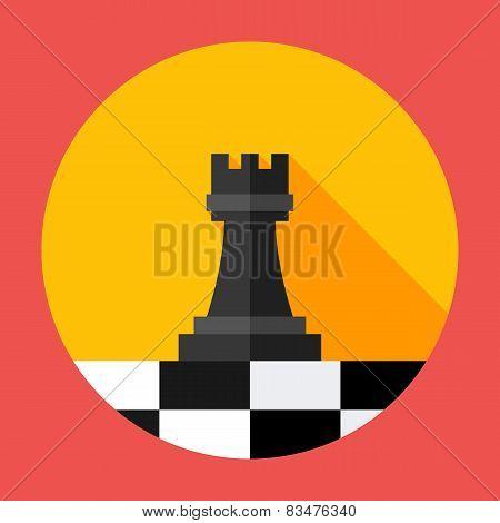 Chess Strategy Flat Circle Icon