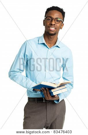 African American College Student With Books In His Hands  Standing On White