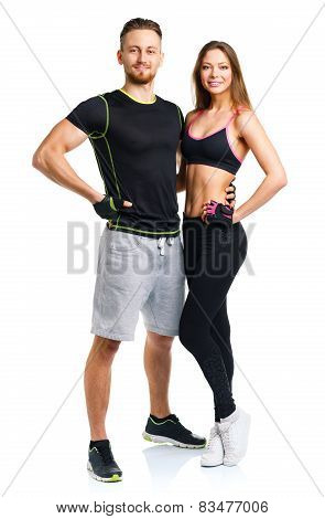 Athletic Couple - Man And Woman After Fitness Exercise On The White