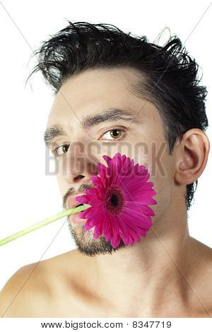 Man With Gerberas In  Mouth