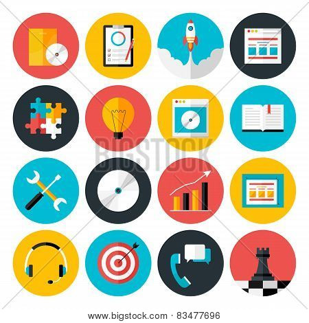 Flat Icons Vector Collection Of Web Design Objects, Business, Office And Marketing Items