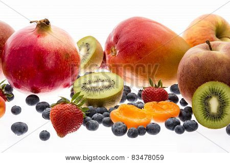 Exotic And Nontropical Fruit Isolated Over White