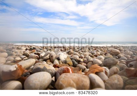 Beach Waves Beautiful Pebble Mediterranean Sea
