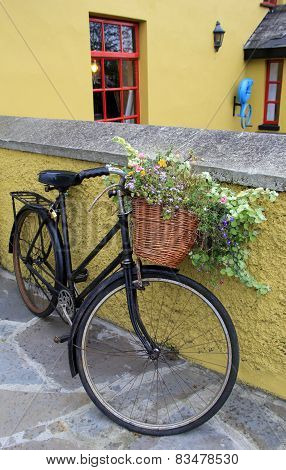 Rustic bicycle and flower basket
