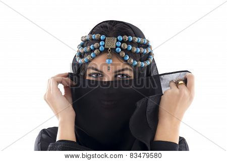 Arabian Girl wearing Traditional Headscarf, Beautiful tribal woman wrapped in scarf