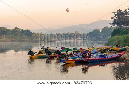 Long Tail Boats On Song River, Vang Vieng, Laos.