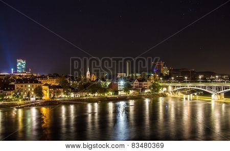 Night View Of Basel Over Rhine - Switzerland