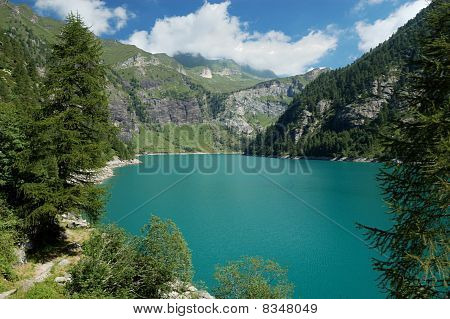 Panoramic View Of Alpine Lake
