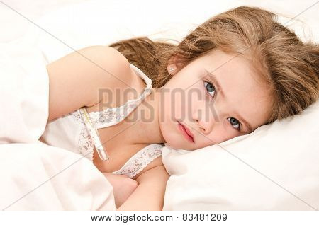 Sick Little Girl Lying In The Bed