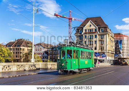Heritage Tram On Middle Bridge In Basel