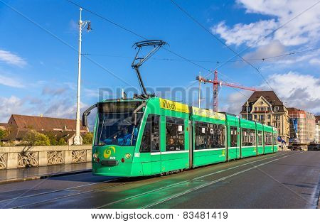 Siemens Combino Tram On Middle Bridge In Basel