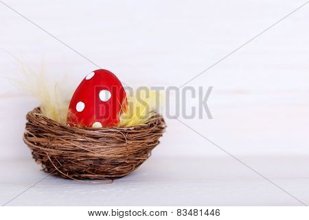 One Red Easter Egg In Nest With Copy Space