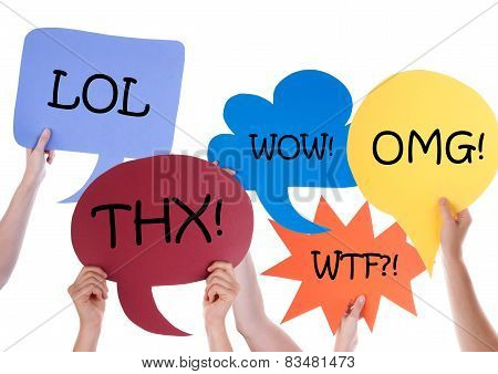Many Speech Balloons With Abbreviations