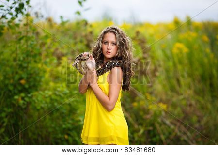 Beautiful Young Girl With Snake