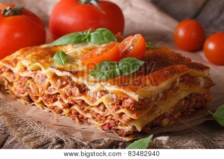 Italian Lasagna Close-up On The Table. Horizontal Rustic