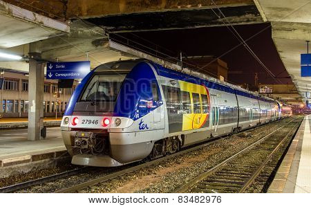 Electric regional train in Mulhouse, Fran