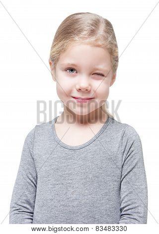 Beautiful Little Girl Winking Isolated